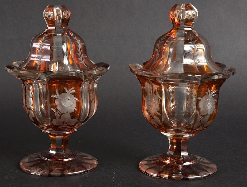 808:  A PAIR OF 19TH CENTURY BOHEMIAN AMBER GLASS CUPS
