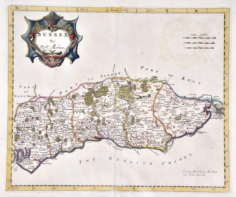 """4: ROBERT MORDEN - A map of Sussex. 17"""" x 19""""."""