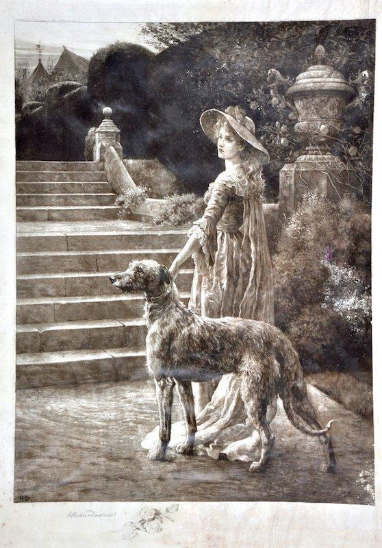 8: HERBERT DICKSEE (1862-1942) BRITISH - Woman with dog