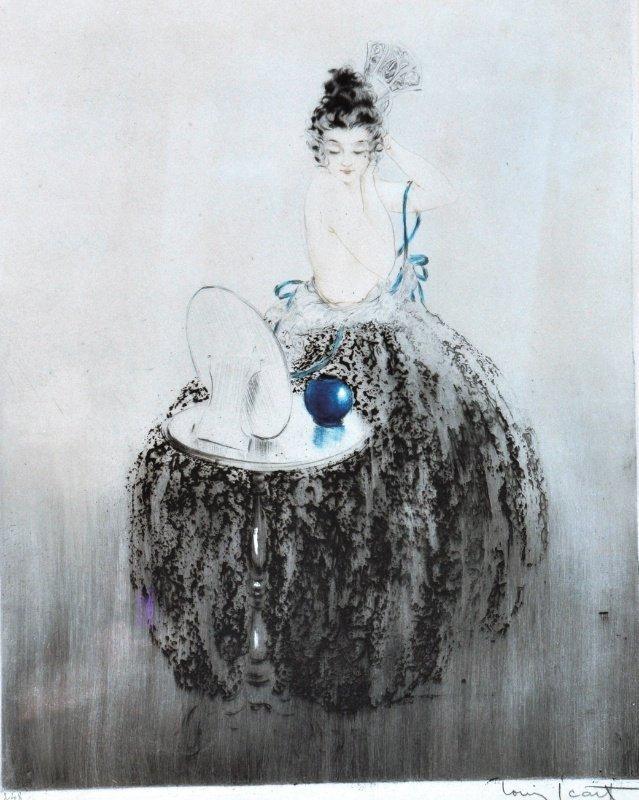 11: LOUIS ICART (1888-1950) FRENCH - Elegant woman at d