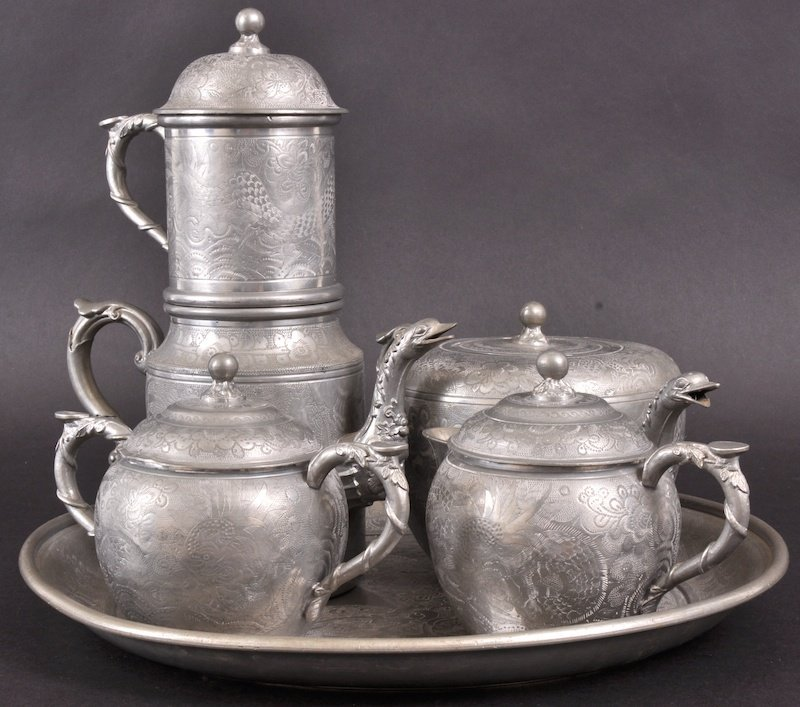 15:  AN EARLY 20TH CENTURY CHINESE PEWTER TEASET by Nga