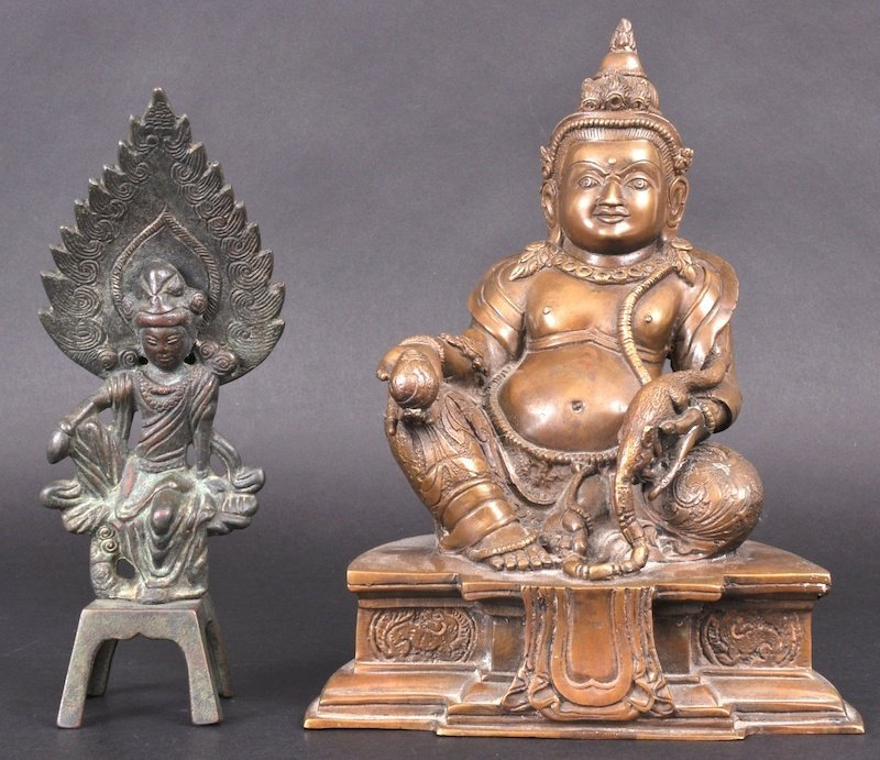 20: A 19TH CENTURY CHINESE TIBETAN BRONZE FIGURE OF A G
