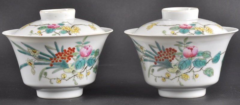 345:  A PAIR OF CHINESE PORCELAIN ENAMELLED BOWLS AND C