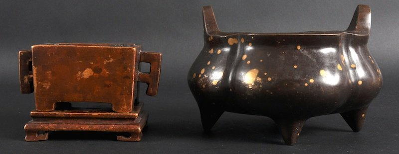 403: A CHINESE GOLD SPLASH MELON SHAPED BRONZE CENSER t