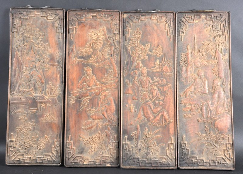 405: A GROUP OF FOUR MID 20TH CENTURY CHINESE CARVED WO
