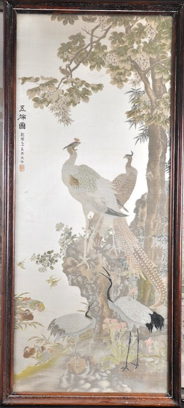 412: AN EARLY 20TH CENTURY CHINESE FRAMED SILKWORK depi