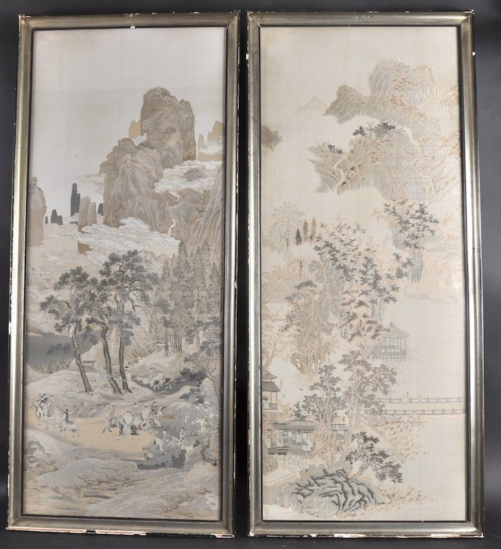 413:  A PAIR OF LATE 19TH CENTURY CHINESE FRAMED SILKWO