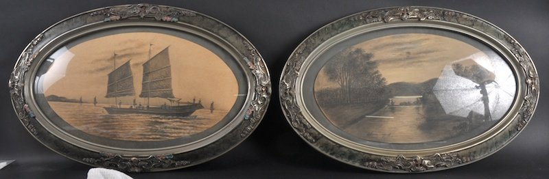 414:  CHINESE SCHOOL (C1900) A PAIR OF FRAMED OVAL CHIN