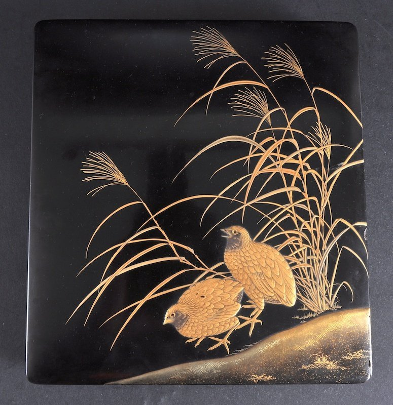 424: A LATE 19TH CENTURY JAPANESE BLACK LACQUER SQUARE