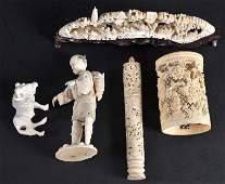 653  AN EARLY 20TH CENTURY CHINESE CARVED IVORY MOUNTA