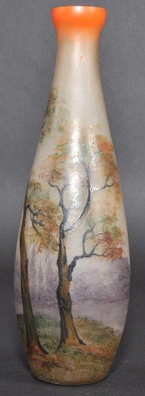 953: A LOVELY 1930S ART DECO FRENCH ENAMELLED GLASS VAS