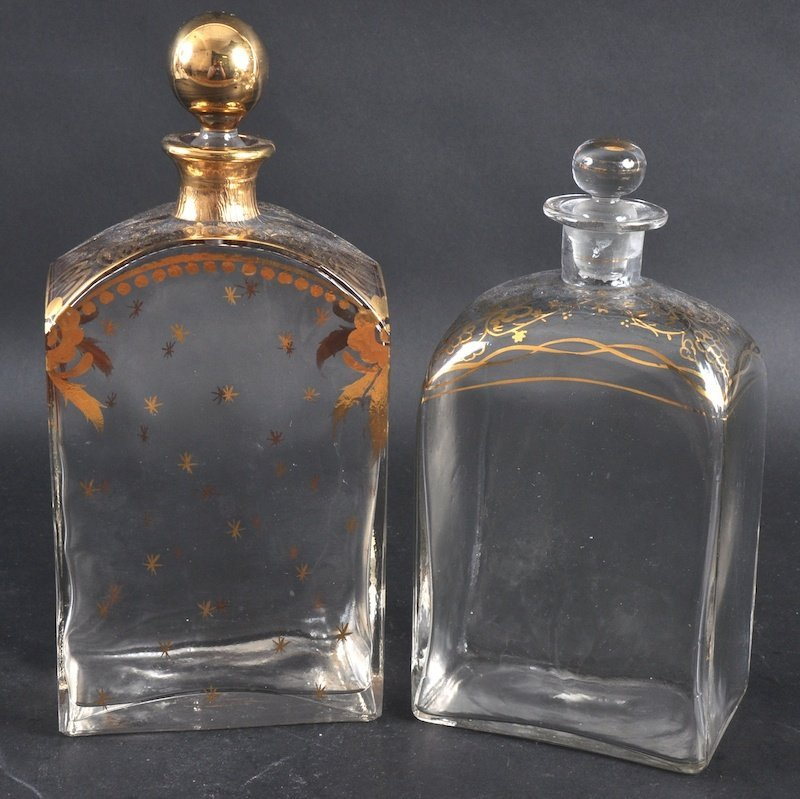 967: TWO EARLY 20TH CENTURY BOHEMIAN GILDED DECANTERS A