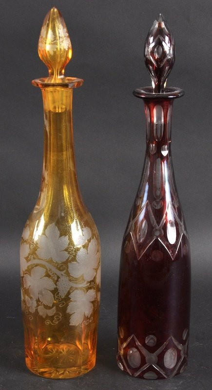 968:  A PAIR OF BOHEMIAN OVERLAID GLASS DECANTERS AND S