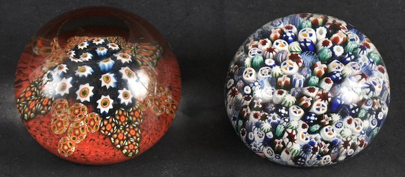 969: TWO MILLIFIORE FRENCH GLASS PAPERWEIGHTS. 3ins wid