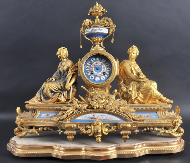 1113:  A 19th CENTURY FRENCH ORMOLU CLOCK with painted