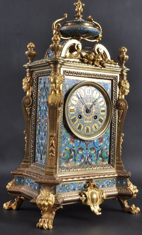 1126:  A LOVELY 19TH CENTURY FRENCH BRASS AND CHAMPLEVE