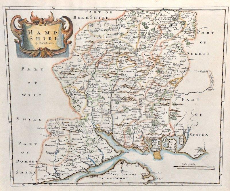 "6:  Robert Morden.  A Map of Hampshire, 16"" x 18"""