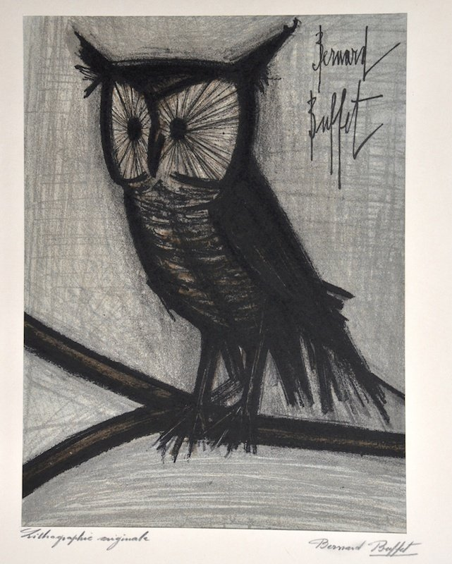 7:  Bernard Buffet, An Owl, a Lithograph, signed and in