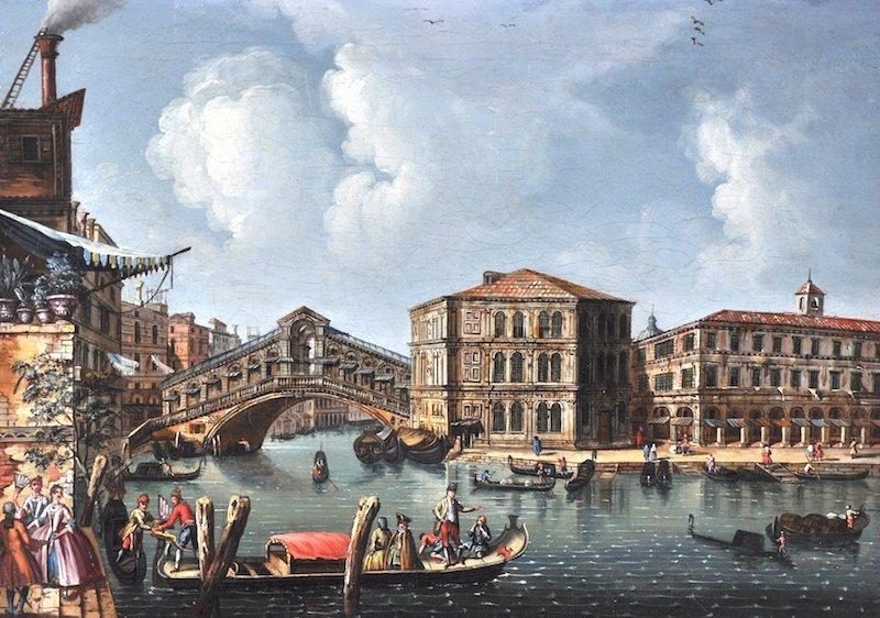 113:  18th Century Italian School, A Venetian canal sce