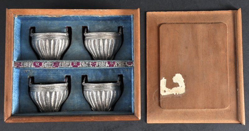 15: A SET OF FOUR LATE 19TH CENTURY CHINESE SILVER SALT