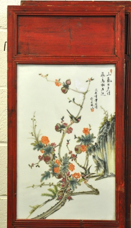 404:  A SET OF FIVE EARLY 20TH CENTURY CHINESE RED LACQ