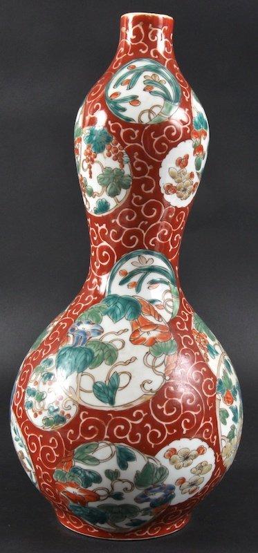 418: A 19TH CENTURY JAPANESE PORCELAIN DOUBLE GOURD VAS