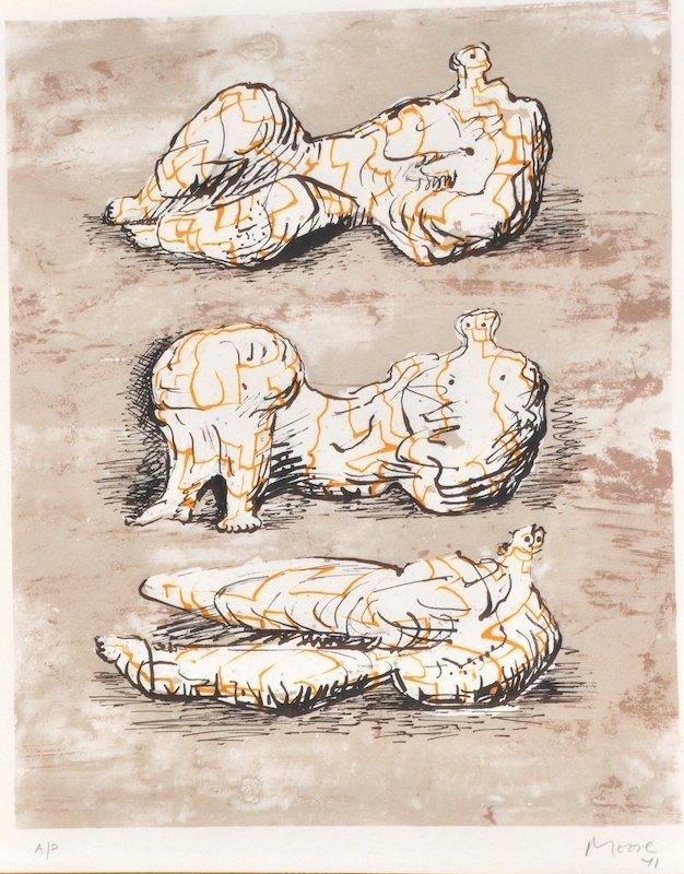 1015: Henry Moore (1898-1986) British. 'Reclining figur