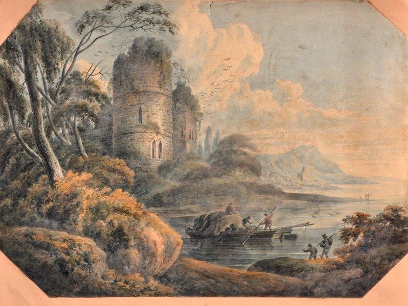 1022: Early 19th Century English School. An estuary sce