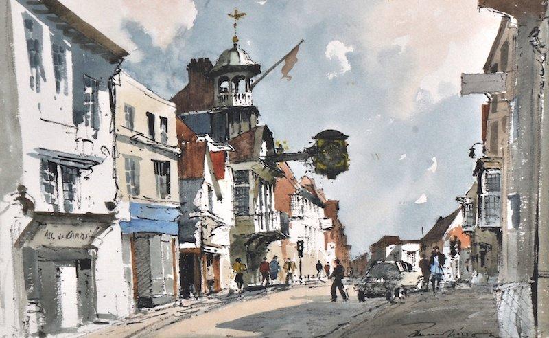 1025: Edward Wesson (1910-1983) British. A busy street