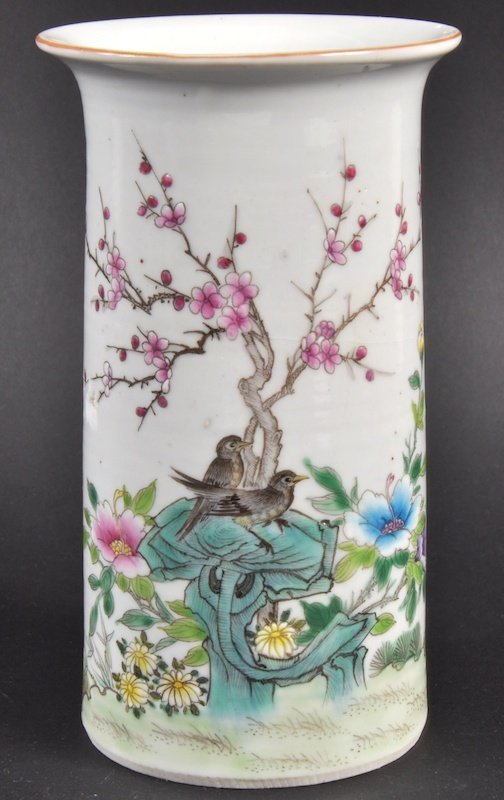 3:  AN EARLY 20TH CENTURY CHINESE PORCELAIN ENAMELLED V