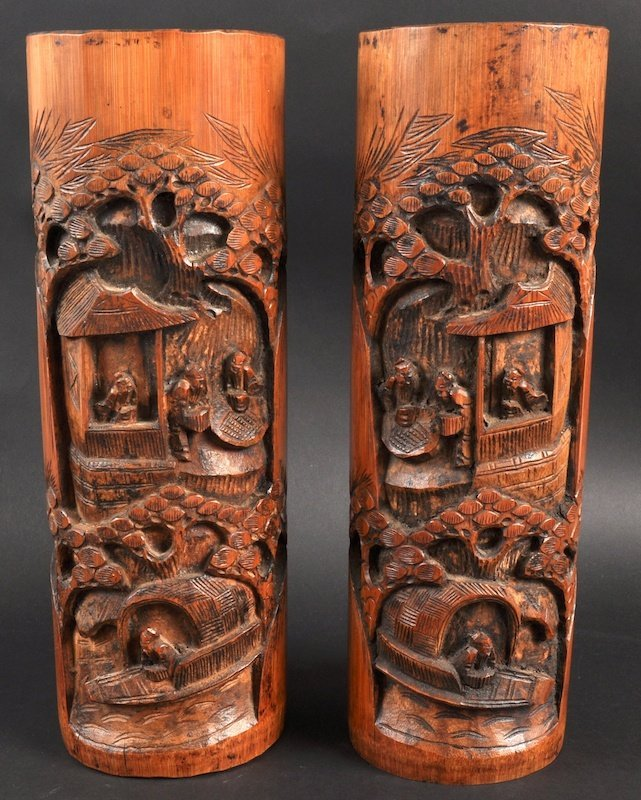 14:  A PAIR OF EARLY 20TH CENTURY CHINESE CARVED BAMBOO