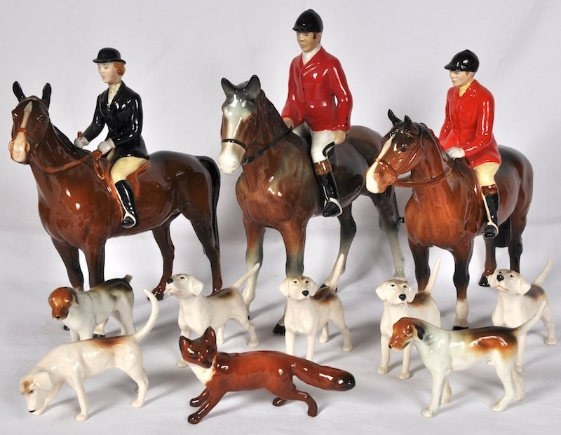 719:  A BESWICK POTTERY HUNTING GROUP, comprising two m
