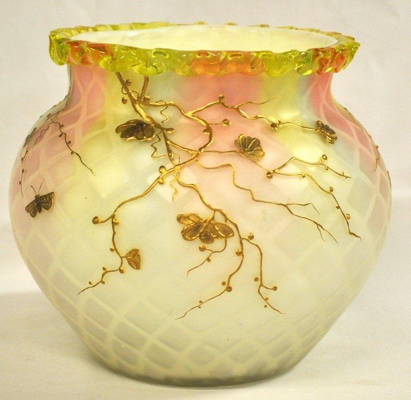 753: A WEBBS PATENT SATIN GLASS BULBOUS VASE decorated