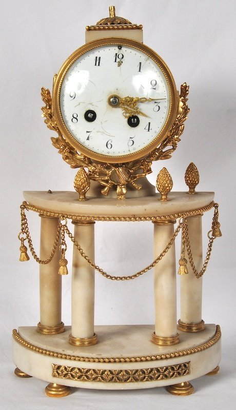 778:  A 19TH CENTURY WHITE MARBLE AND ORMOLU DEMILUNE M