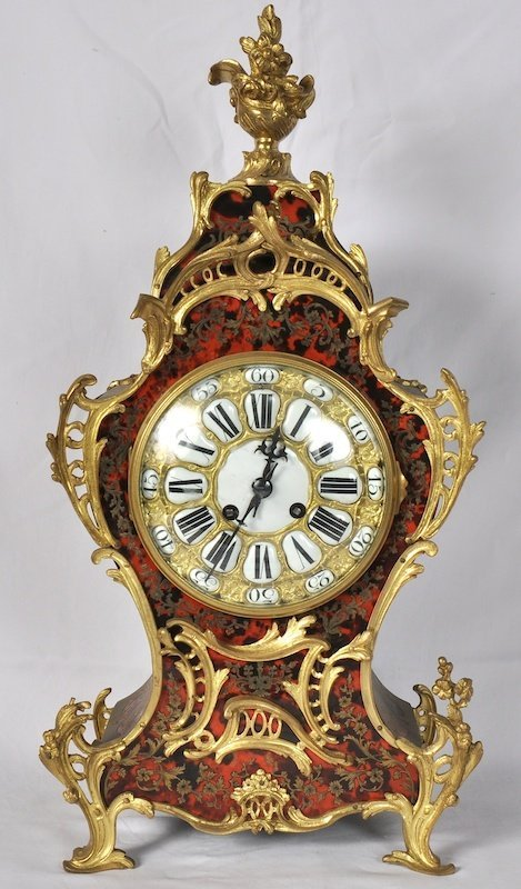 779:  A GOOD 19TH CENTURY FRENCH BOULLE MANTLE CLOCK wi