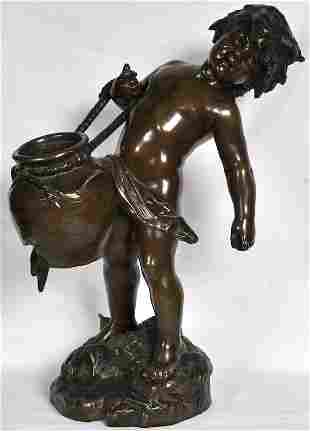 813: AUGUSTE MOREAU (19TH CENTURY) FRENCH A LARGE BRONZ