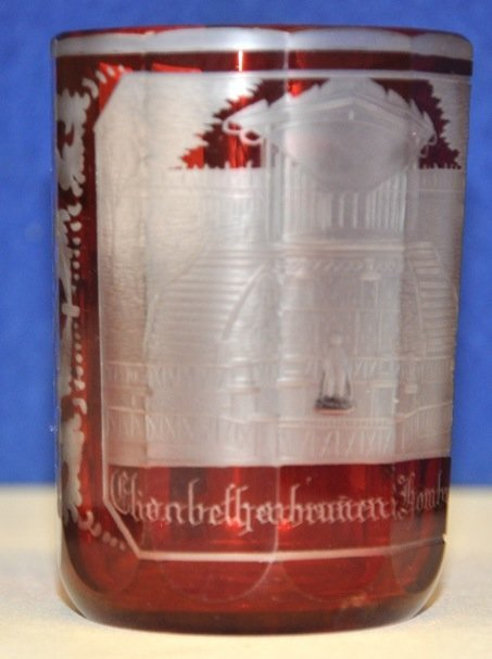752A: A RARE 19TH CENTURY BOHEMIAN ENGRAVED RUBY GLASS