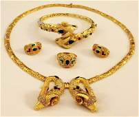 2052: A GOOD HEAVY 18CT YELLOW GOLD GEM-STONE SET SUITE
