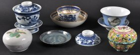 AN 18TH CENTURY CHINESE EXPORT TEABOWL AND SAUCE To