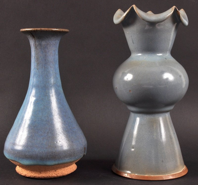 2:  A CHINESE SUNG STYLE BLUE GLAZED VASE together with