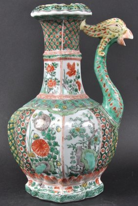 13:  A RARE CHINESE QING DYNASTY FAMILLE VERTE 'PHOENIX
