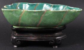 17:  A CHINESE PORCELAIN GREEN GLAZED BRUSH WASHER Daog