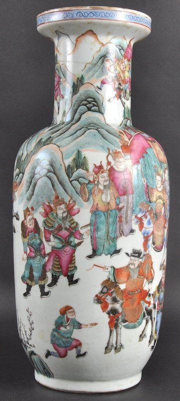 65:  A 19TH CENTURY CHINESE PORCELAIN ENAMELLED ROULEAU
