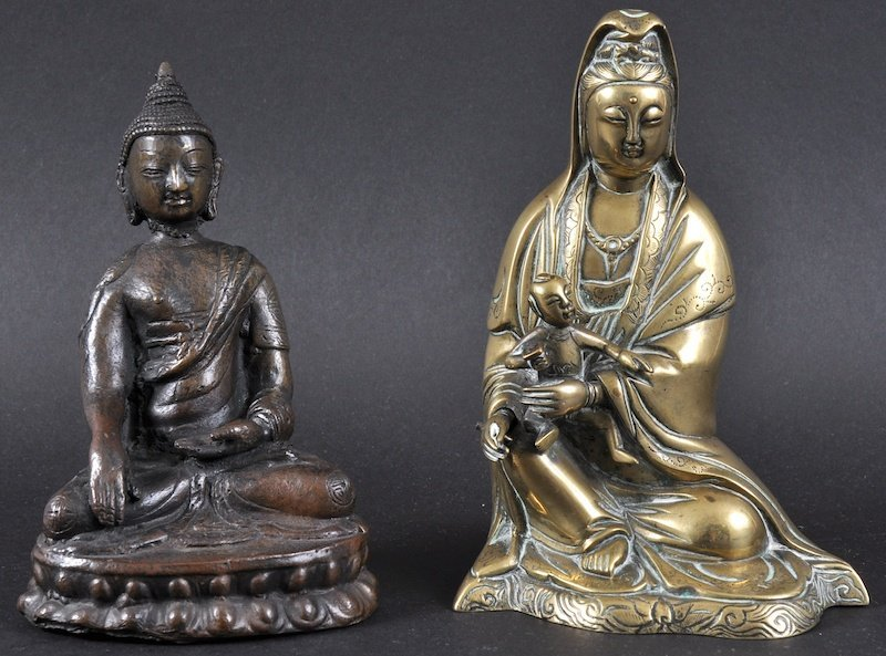 A 19TH CENTURY CHINESE BRONZE FIGURE OF GUANYIN togethe