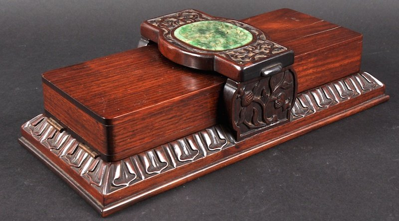 A RARE 19TH CENTURY CHINESE CARVED HARDWOOD AND JADE CA