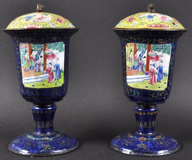 A PAIR OF 19TH CENTURY CHINESE CANTON ENAMEL CUPS AND C