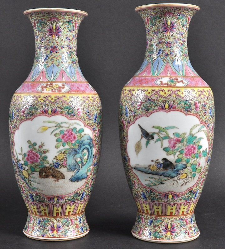 A PAIR OF CHINESE PORCELAIN ENAMELLED VASE bearing Qia