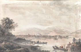 Johan Ludwig Aberli (1723-1786) Swiss. 'Vue de Cerlier
