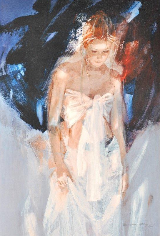 Christine Comyn (1957- ) Belgian. 'Backstage', Signed L