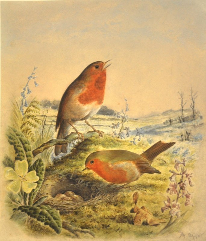 Harry Bright (1846-1895) British. 'Robin Red Breasts',